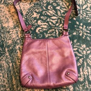 Coach crossbody purse metallic purple- like new